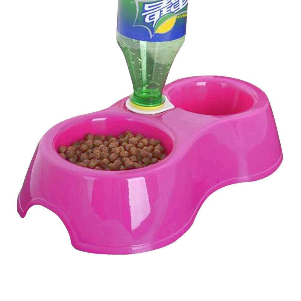 NOCM New Pet Dog Puppy Cat Automatic Water Dispenser Drink Food Dish Feeding Bowl  Pink  Best Selling