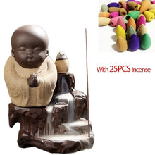 Load image into Gallery viewer, 25PCS Incense Cone + Cute Monk Buddha Incense Burner Backflow Aroma
