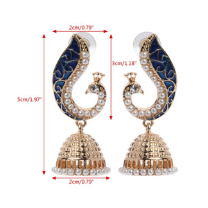 Gold Mosaic Pearl Blue Peacock Earrings For Women Indian Party Earrings Jewelry Long Earrings Drop Ship Jewelry