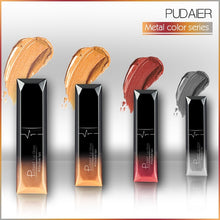 Load image into Gallery viewer, women pudaier 21 Colors Metallic Liquid Lip Gloss Waterproof Matte Lip Gold 24 Hours Long