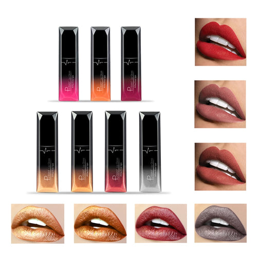 women pudaier 21 Colors Metallic Liquid Lip Gloss Waterproof Matte Lip Gold 24 Hours Long