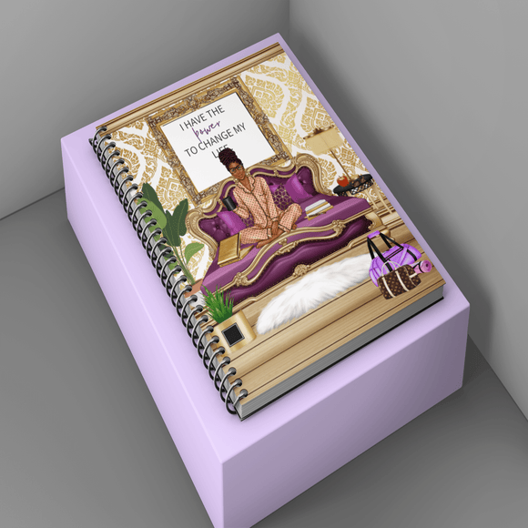 It's a Study Night Purple/Gold Woman Notebook/Journal/Planner