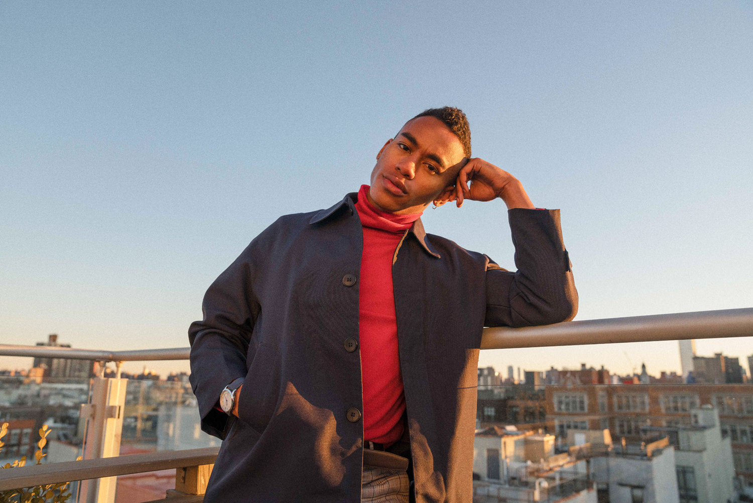 DAEM Spring'19 Lookbook - Man in blue coat on rooftop