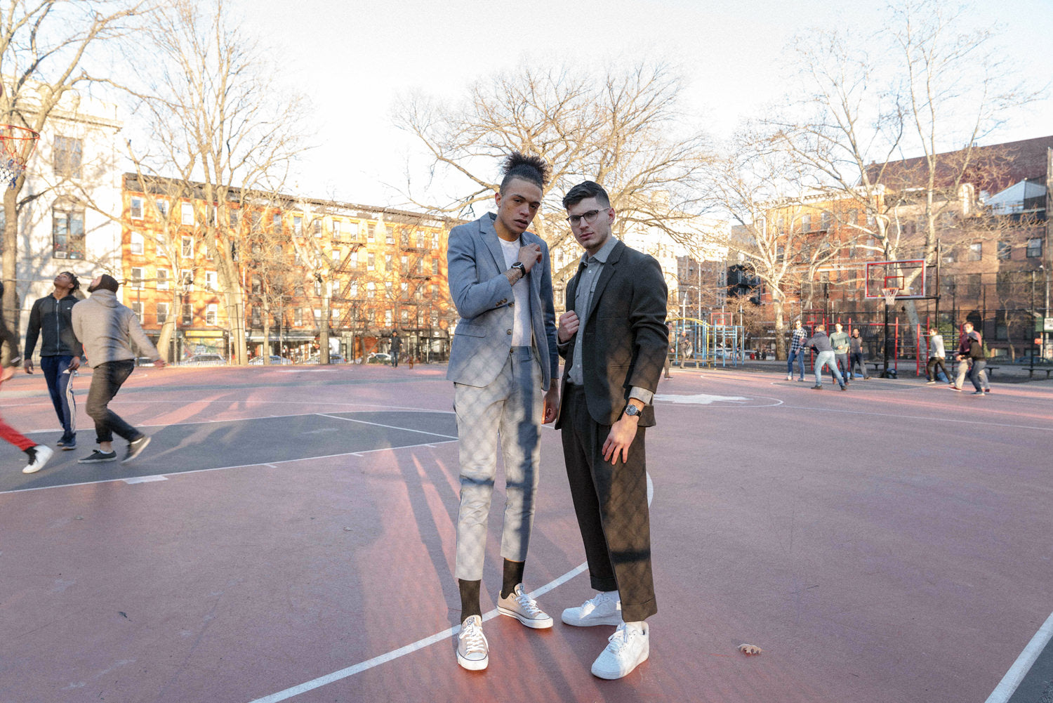 DAEM Spring'19 Lookbook - Men in suits on basketball court