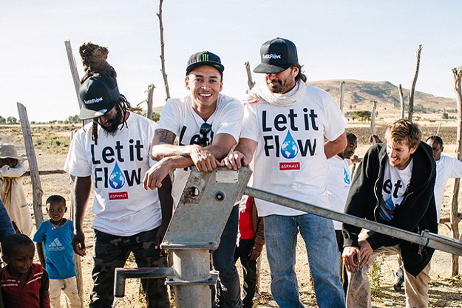 Nyjah Huston and Let It Flow team providing clean water