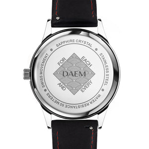 DAEM bedford black dial watch with black rubber strap back