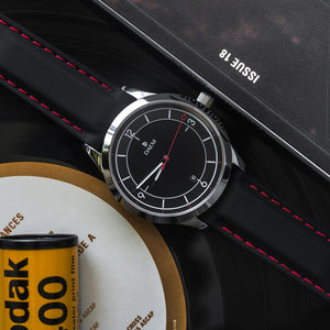DAEM Bedford black dial black rubber strap watch