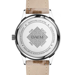 DAEM kent white dial watch with camo cordura strap back