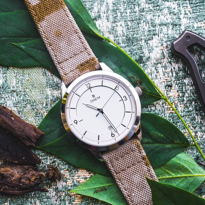 DAEM Kent white grey cordura camo strap watch