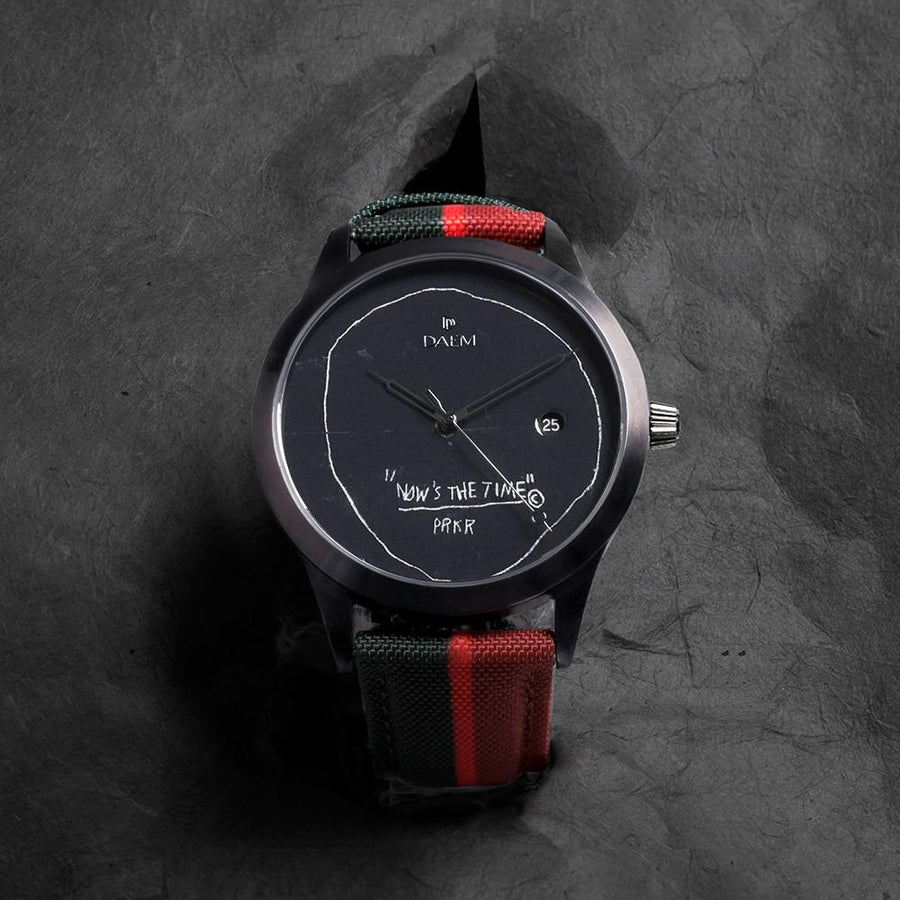 DAEM x Basquiat Now's the Time watch - paper