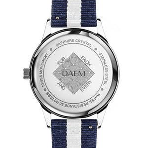 DAEM roebling white dial watch with blue and white NATO strap back