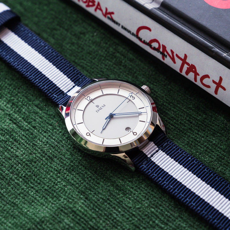 DAEM Roebling white blue NATO strap watch