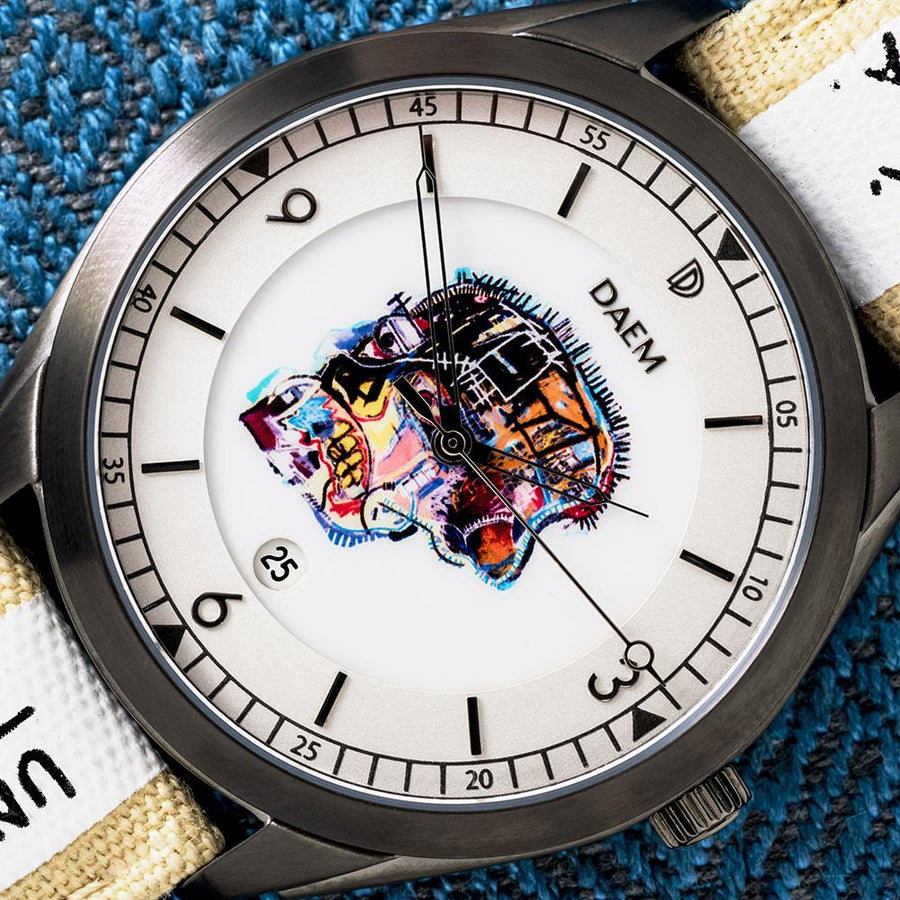 DAEM x Basquiat Skull watch - macro