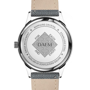 DAEM wythe white dial watch with grey cordura strap back