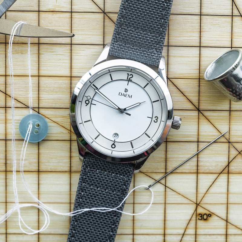DAEM Wythe white grey cordura strap watch