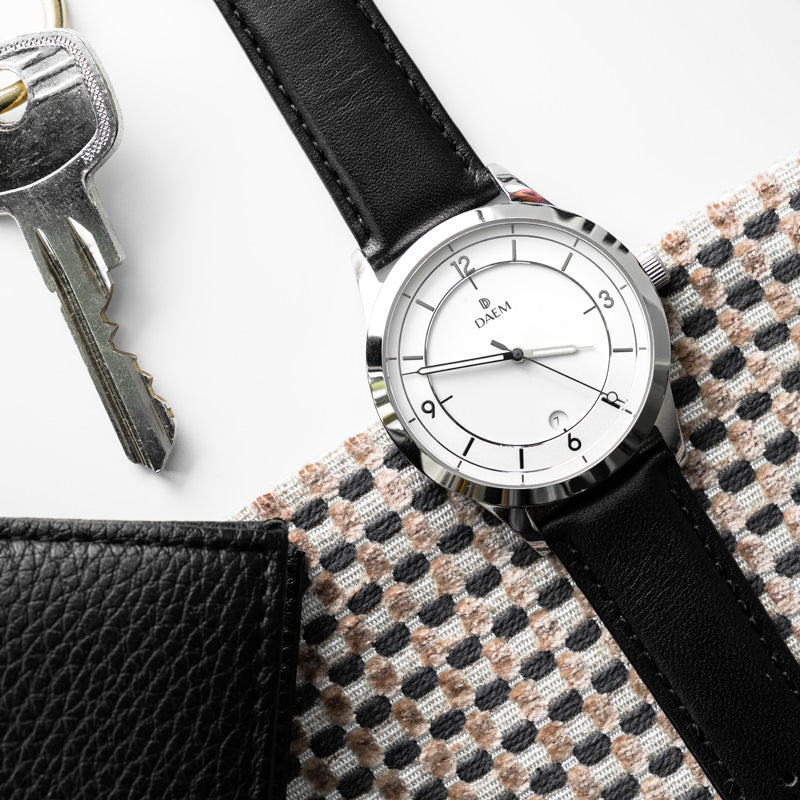 DAEM Slate x Black leather watch