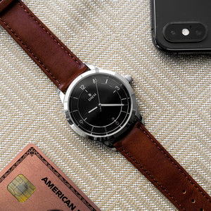 DAEM Sterling x Brown leather watch