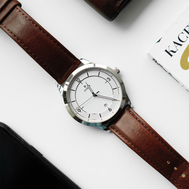 DAEM Slate x Brown leather watch
