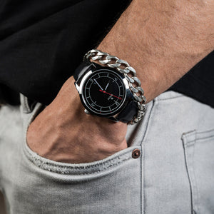 DAEM Midnight x Black leather watch on wrist