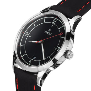 DAEM bedford black dial watch with black rubber strap side