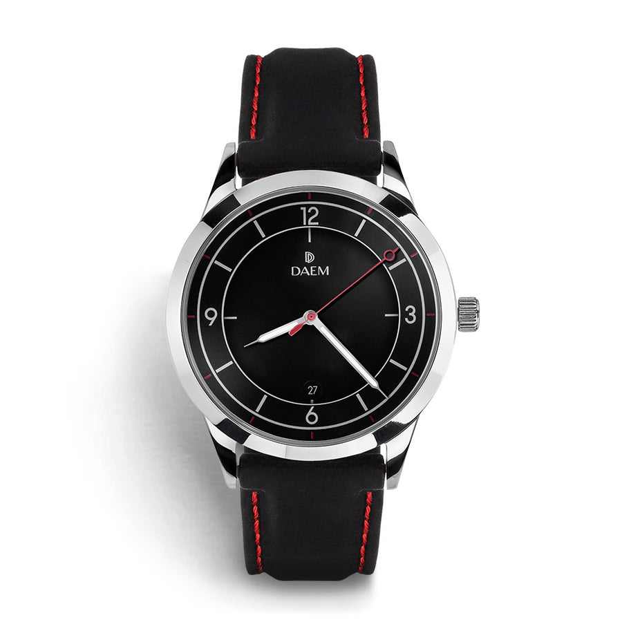 DAEM bedford black dial watch with black rubber strap front