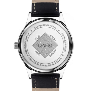 DAEM sterling black dial watch black leather back engraved