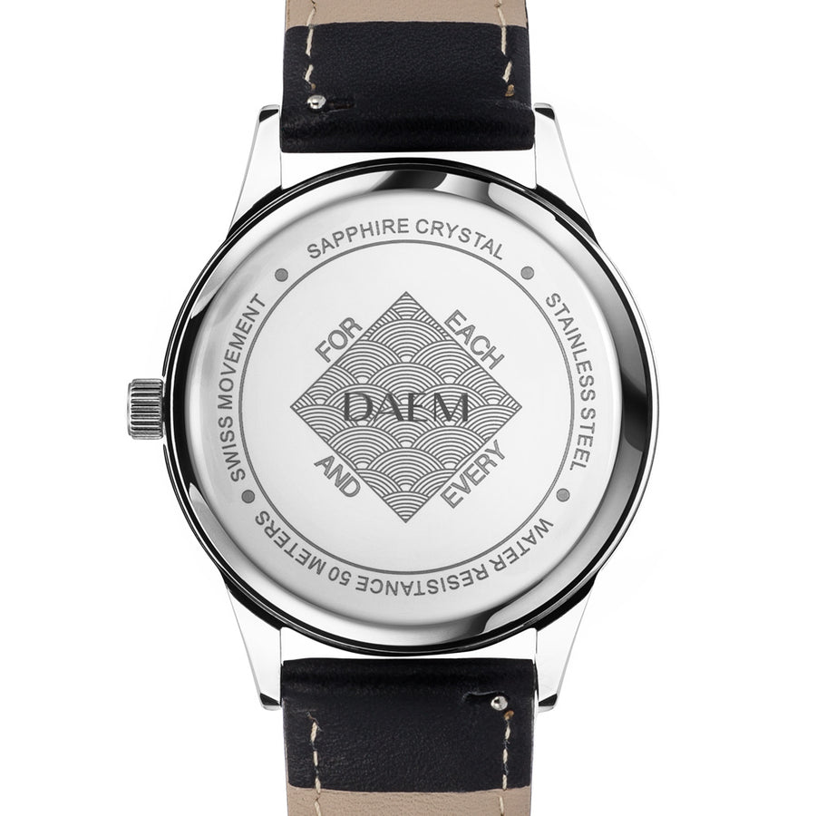 DAEM midnight black dial watch black leather back engraved