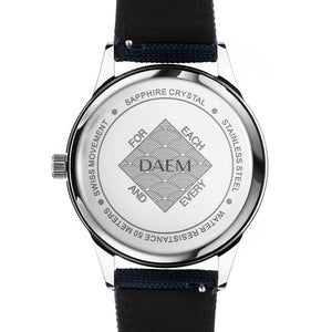 DAEM sterling black dial watch blue canvas back engraved