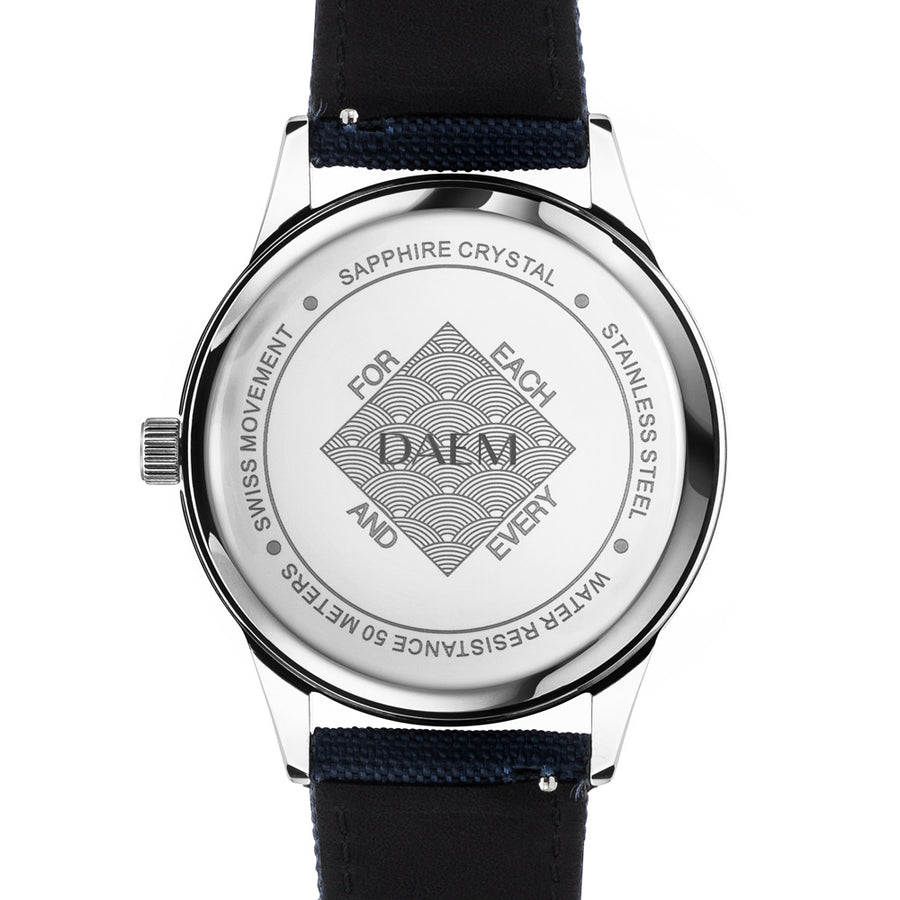 DAEM royal white dial watch blue canvas back engraved