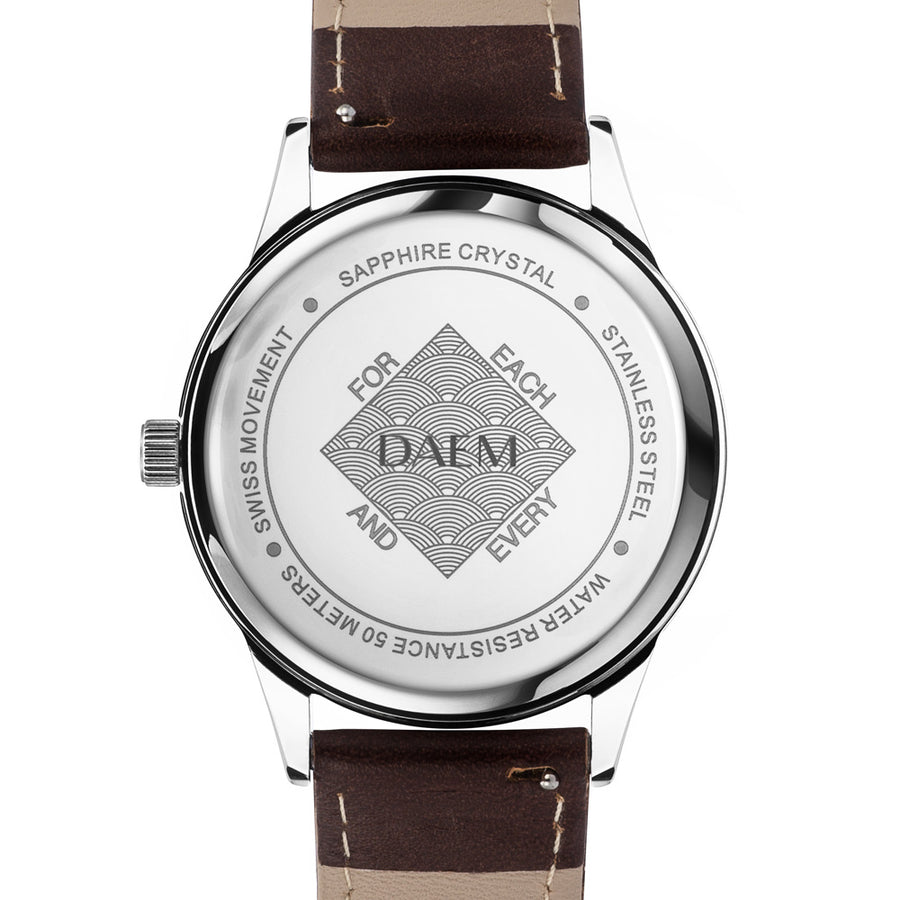 DAEM royal white dial watch brown leather back engraved