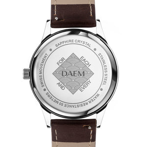 DAEM sterling black dial watch brown leather back engraved