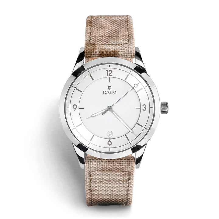 DAEM kent white dial watch with camo cordura strap front