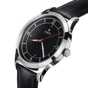 DAEM midnight black dial watch with red hand black leather side