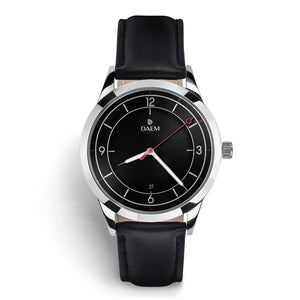 DAEM midnight black dial watch with red hand black leather front