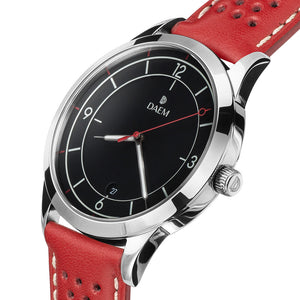 DAEM nassau black dial watch with perforated red leather strap side