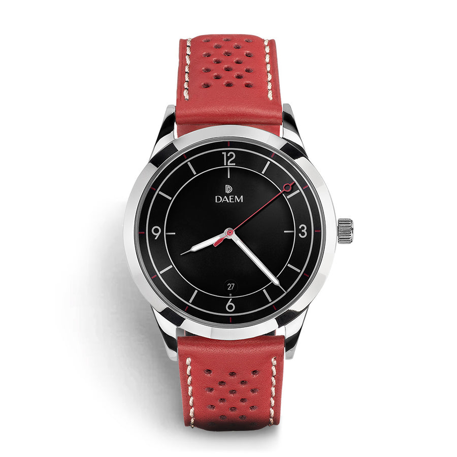 DAEM nassau black dial watch with perforated red leather strap front