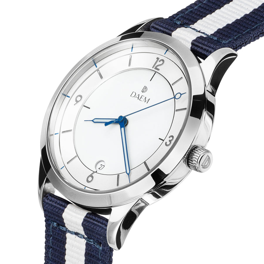 DAEM roebling white dial watch with blue and white NATO strap side