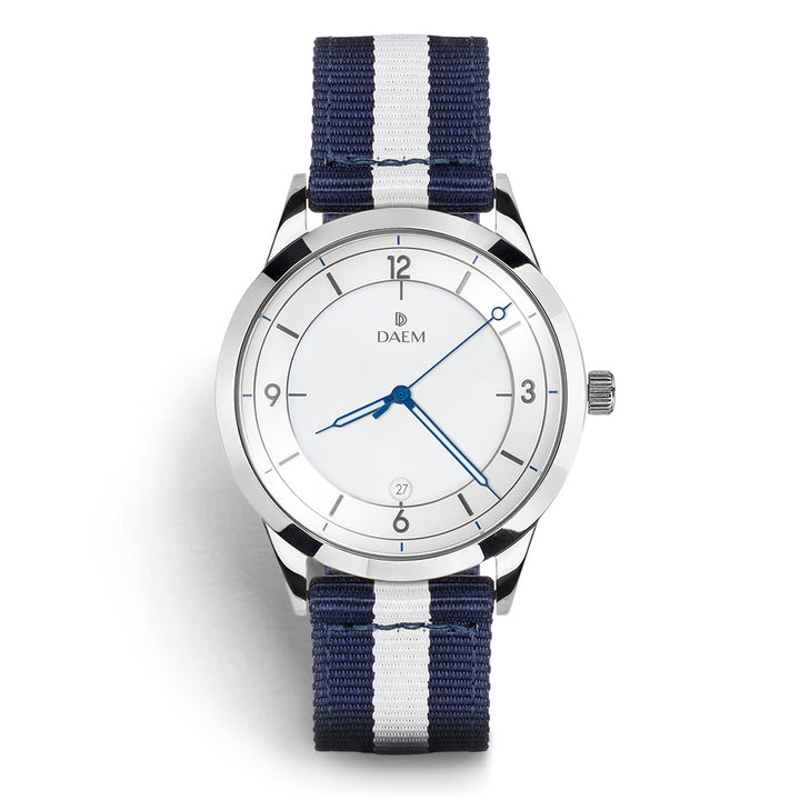 DAEM roebling white dial watch with blue and white NATO strap front