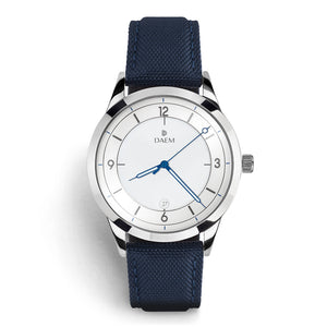 DAEM royal white dial watch with blue hands blue canvas front