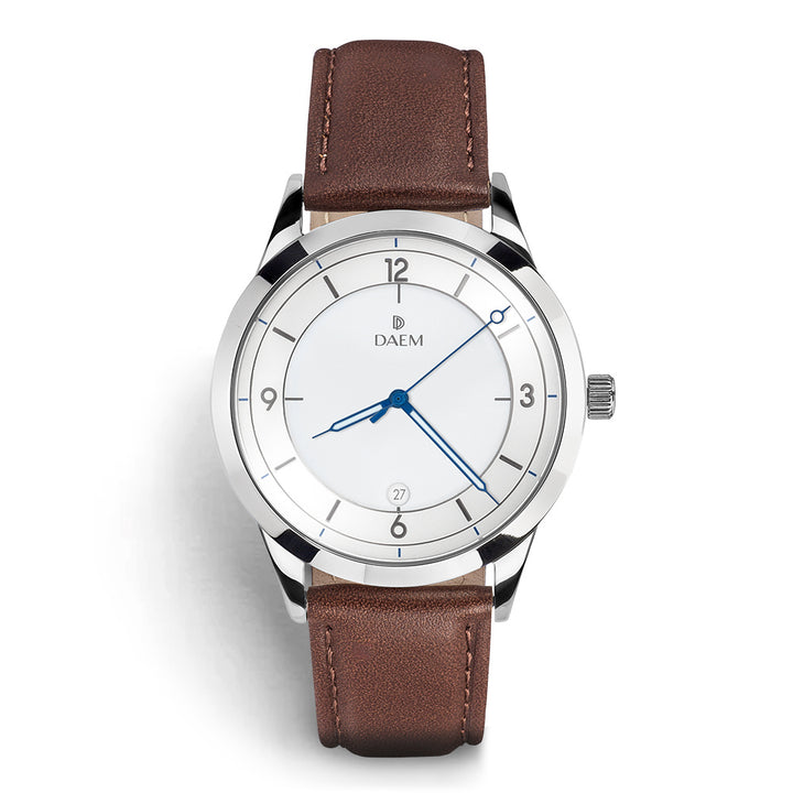DAEM royal white dial watch with blue hands brown leather front