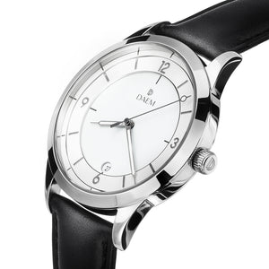 DAEM slate white dial watch with grey hands black leather side