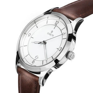 DAEM slate white dial watch with grey hands brown leather side