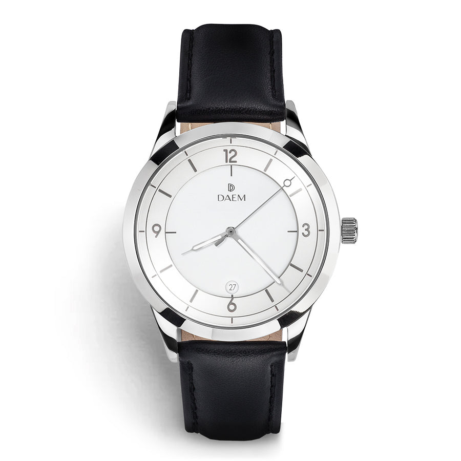 DAEM slate white dial watch with grey hands black leather front