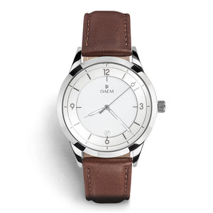 DAEM slate white dial watch with grey hands brown leather front
