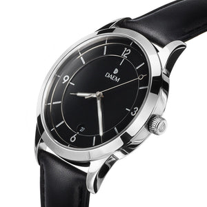 DAEM sterling black dial watch with silver hand black leather side