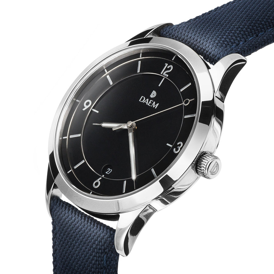 DAEM sterling black dial watch with silver hand blue canvas side