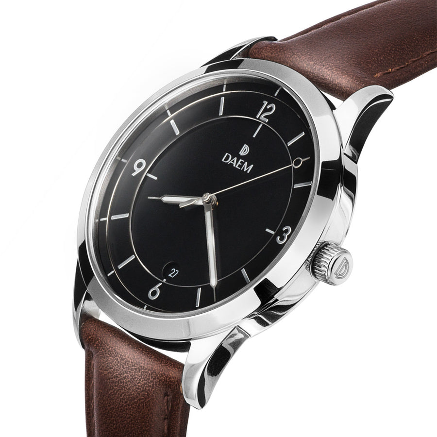 DAEM sterling black dial watch with silver hand brown leather side