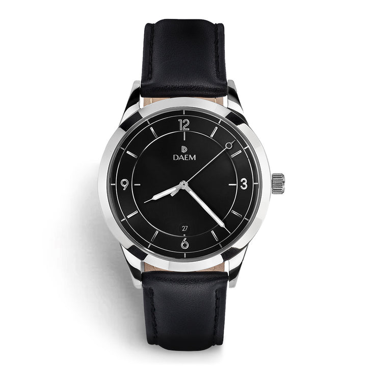 DAEM sterling black dial watch with silver hand black leather front