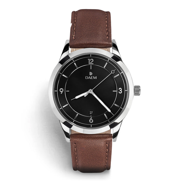 DAEM sterling black dial watch with silver hand brown leather front