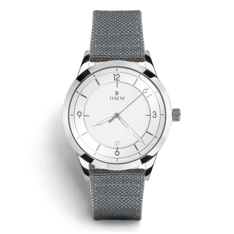 DAEM wythe white dial watch with grey cordura strap front